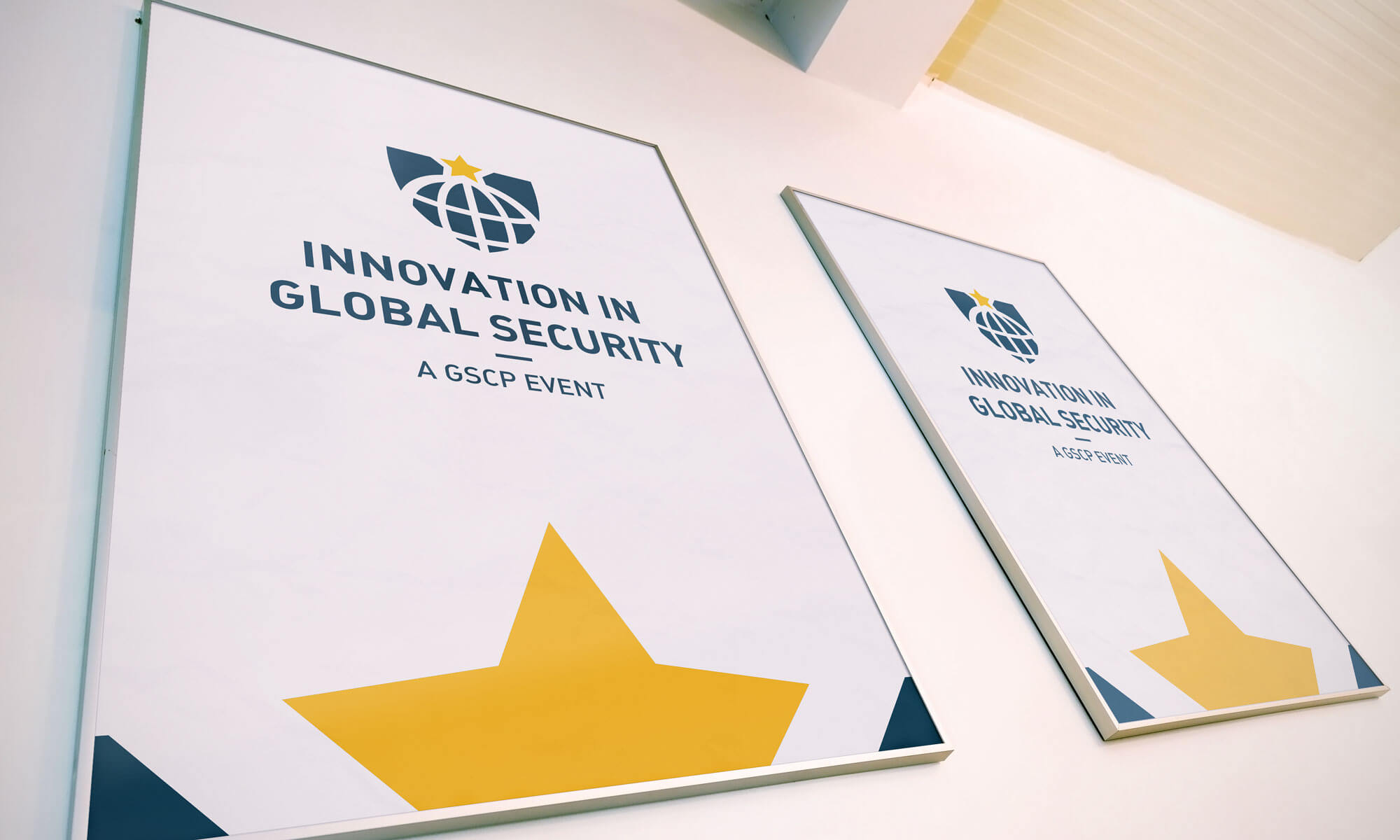 Innovation in global security logo as poster