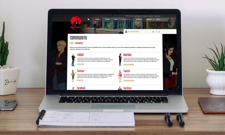 Revolution community page on laptop