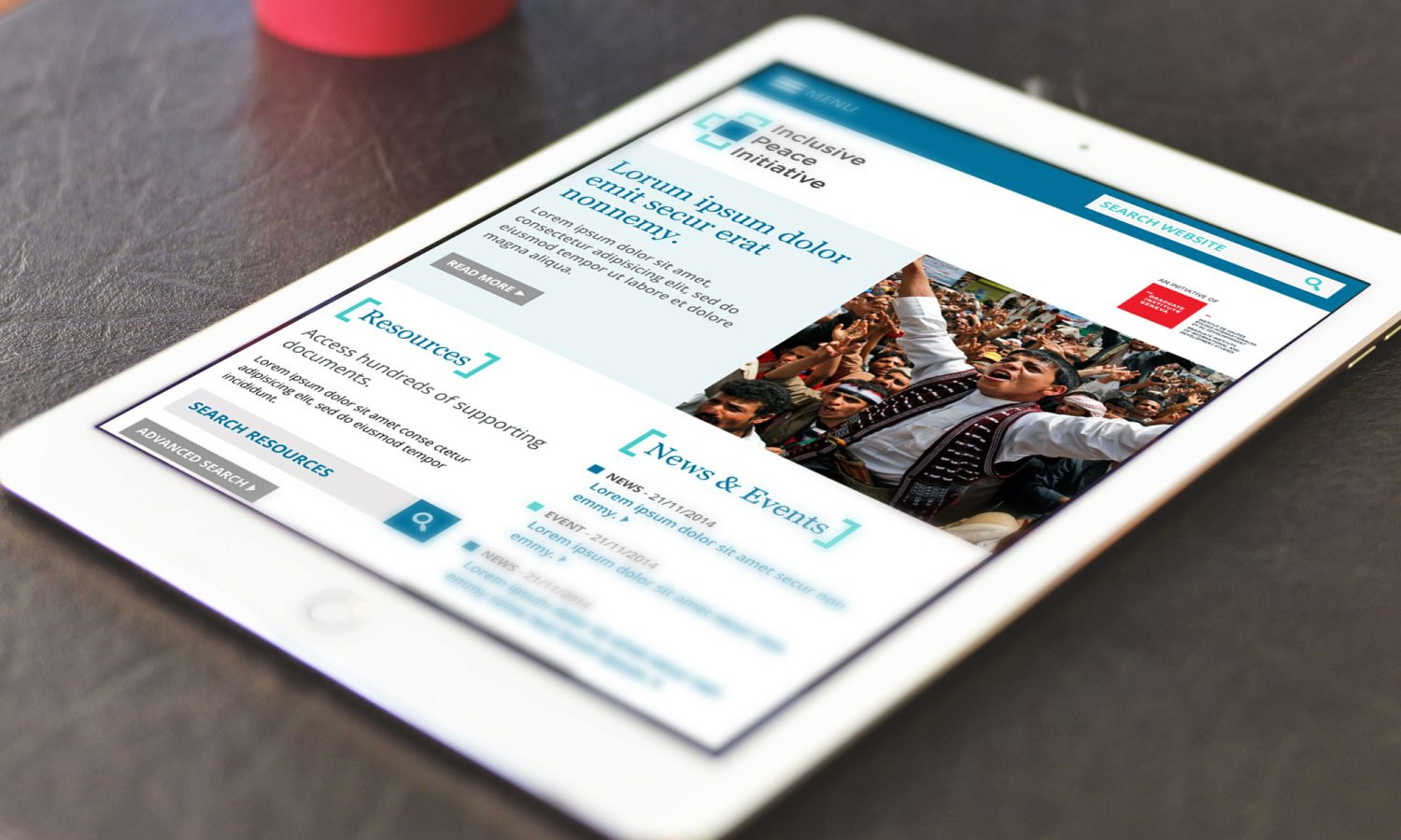 IPTI website homepage on tablet
