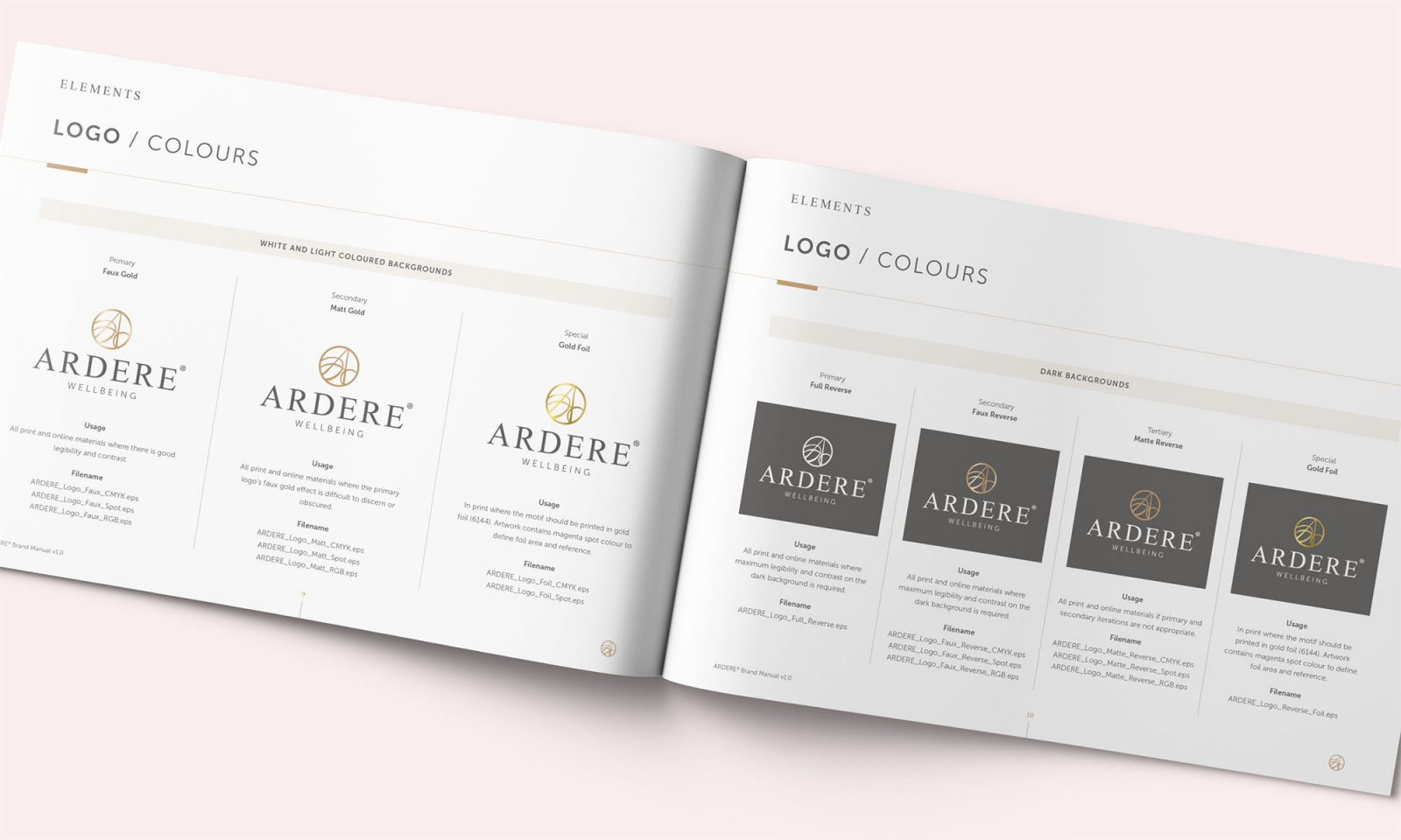 Ardere brand manual spread showing logo variants