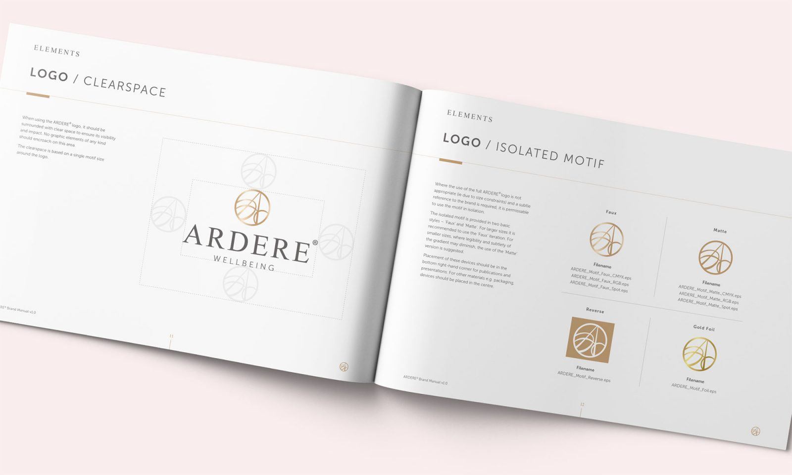 Ardere brand manual spread showing logo structure and variants