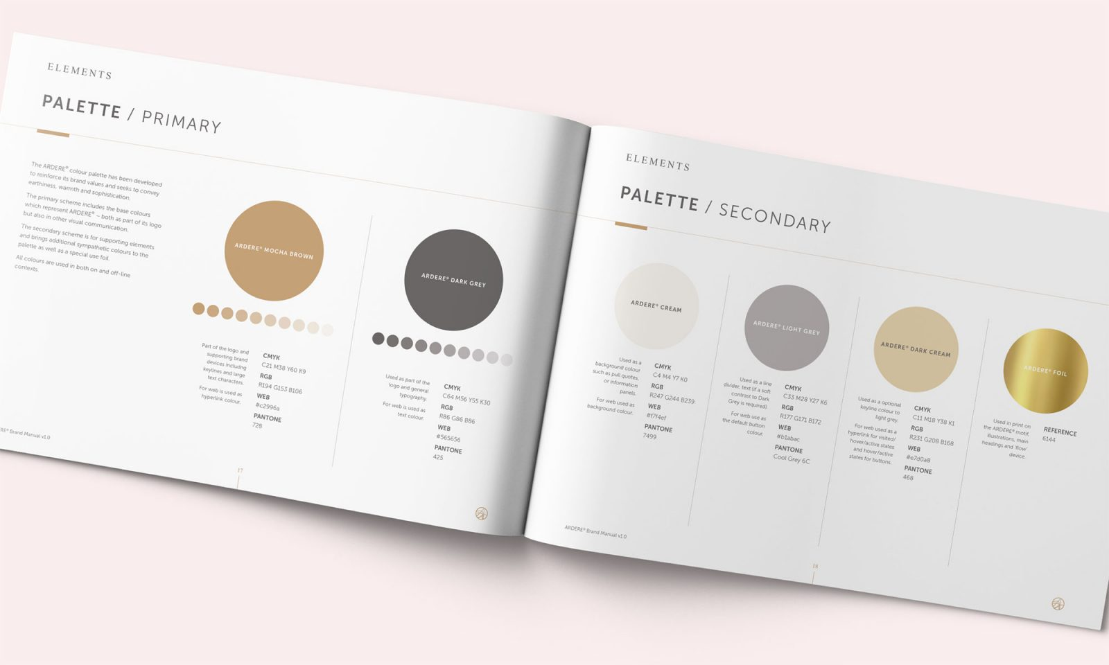 Ardere brand manual spread showing palette