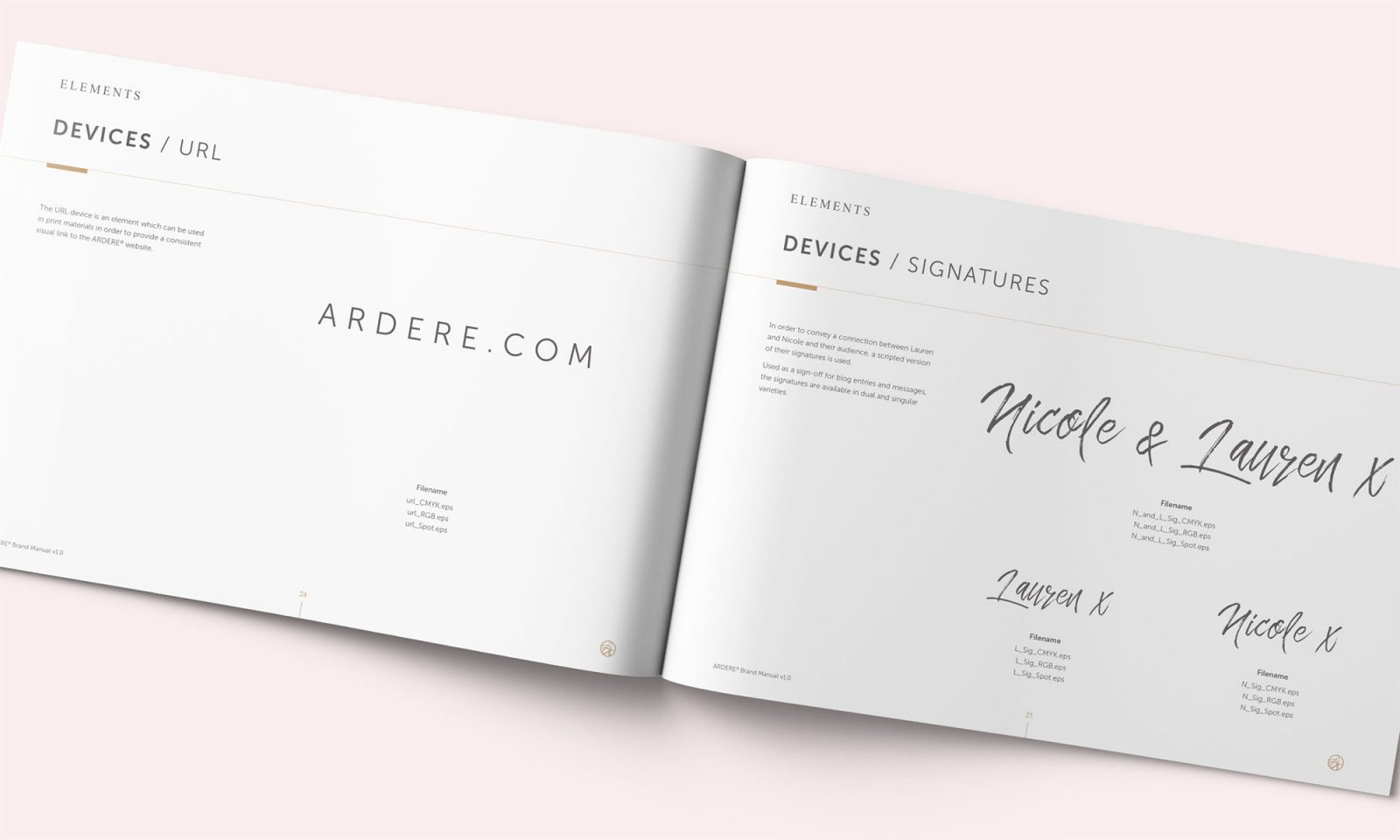 Ardere brand manual spread showing signoff and url usage
