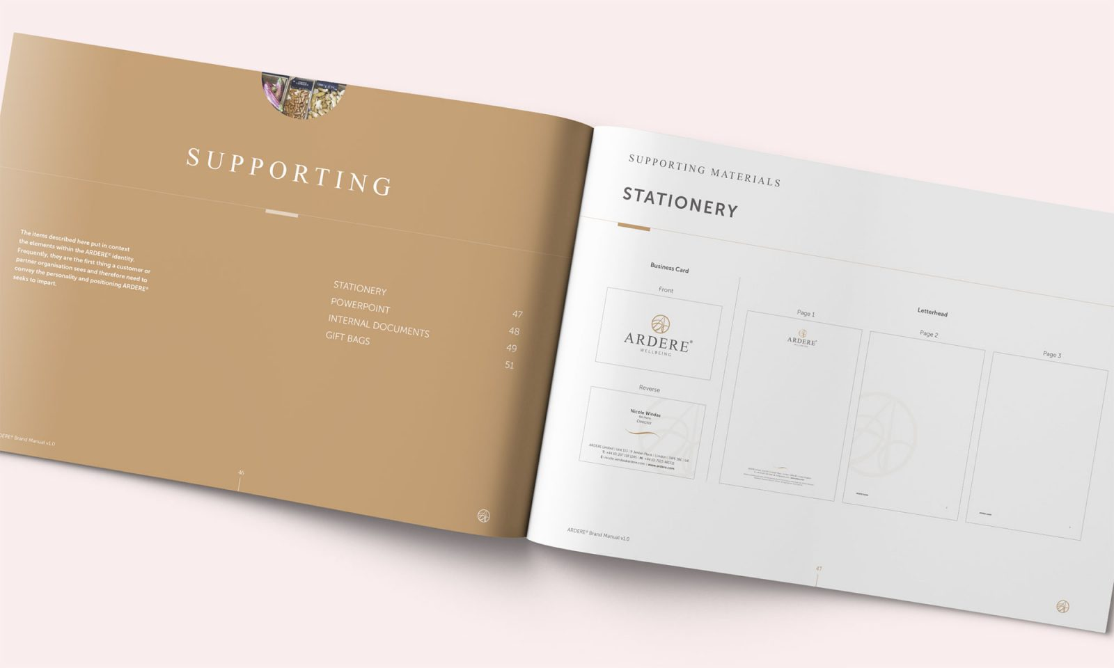 Ardere brand manual spread showing stationery