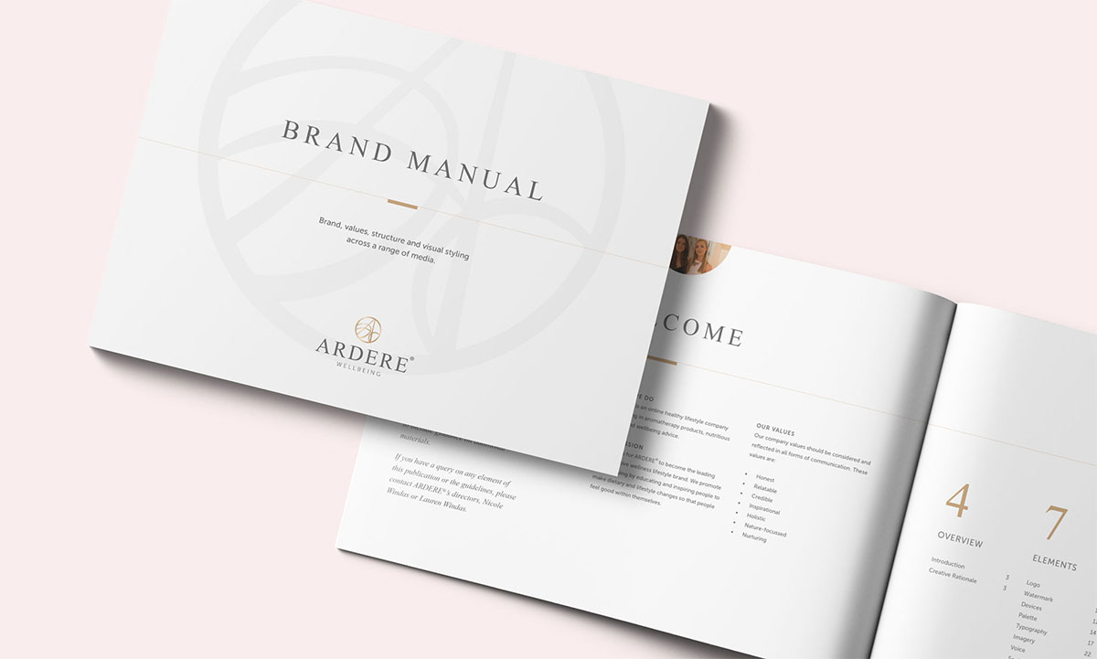 Ardere - Brand Manual cover and initial spread