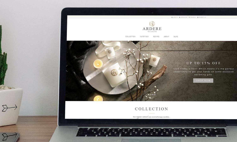 Ardere homepage on desktop