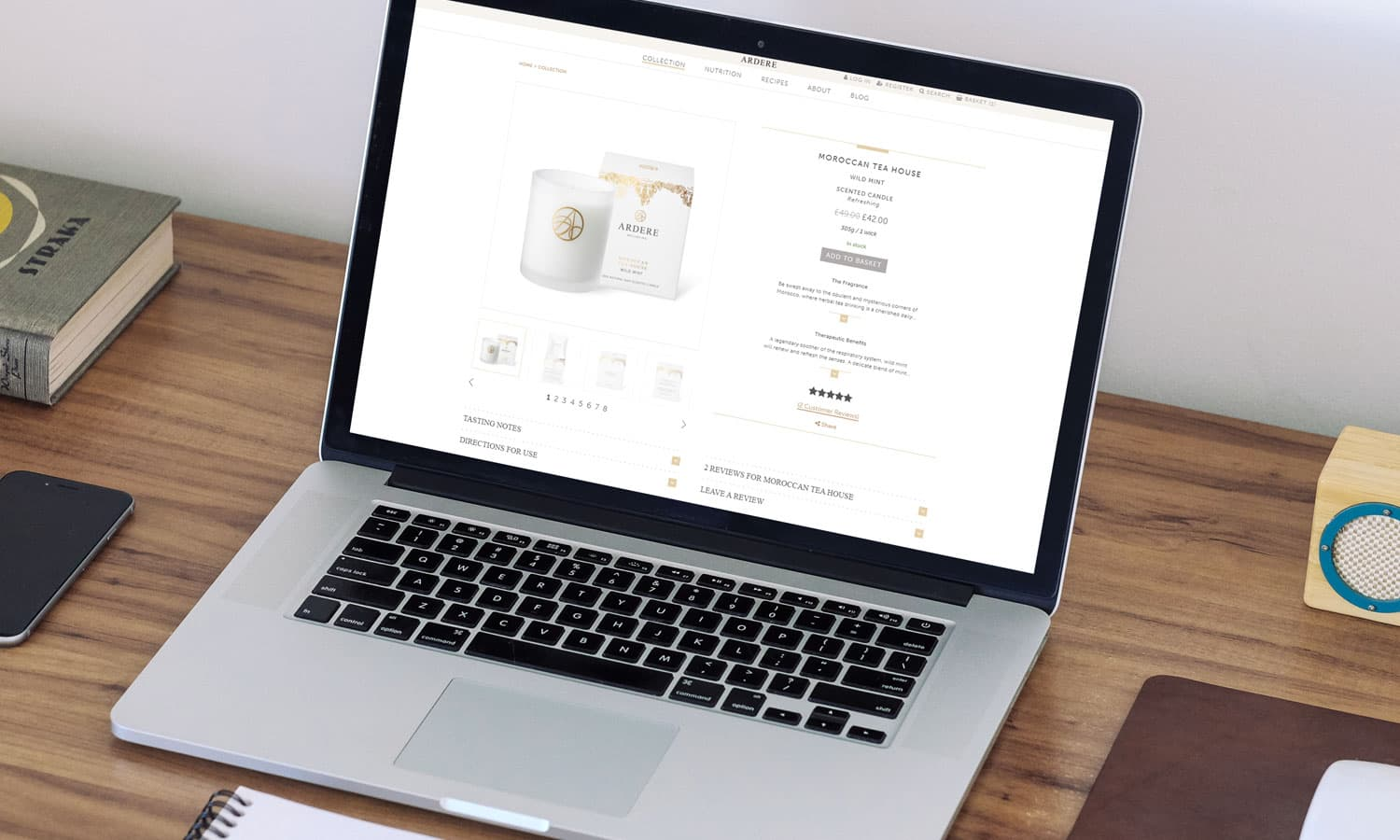 Ardere product page on laptop