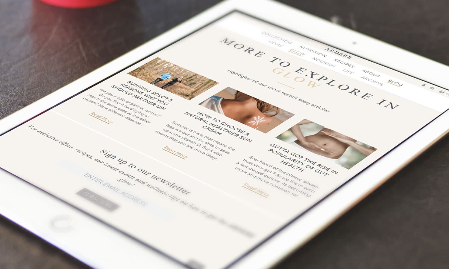 Ardere homepage-segment on tablet