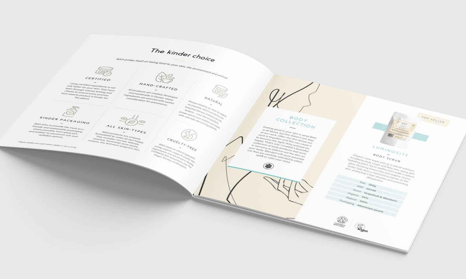 BAO Skincare brochure spread