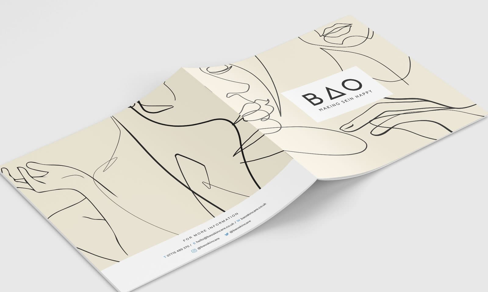 BAO Skincare brochure cover and reverse