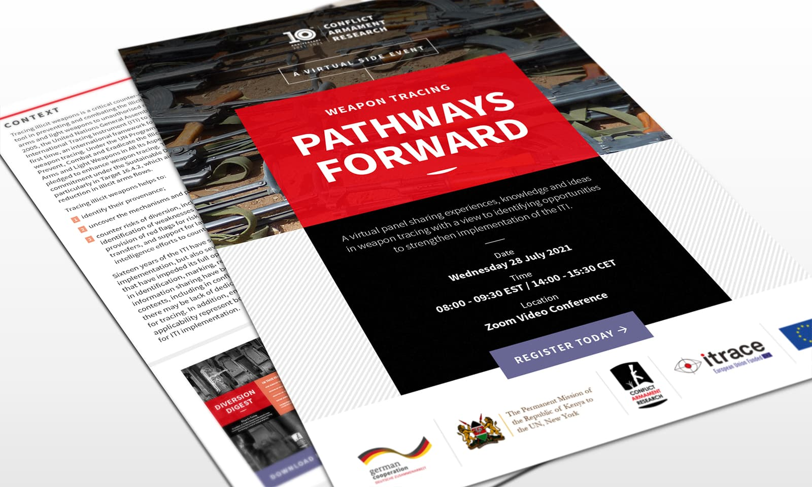 Pathways Forward - a weapon tracing conference - front side